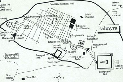Map showing positioning of the Monumental Arch where it linked the main street of the Colonnade and the Temple of Baal.