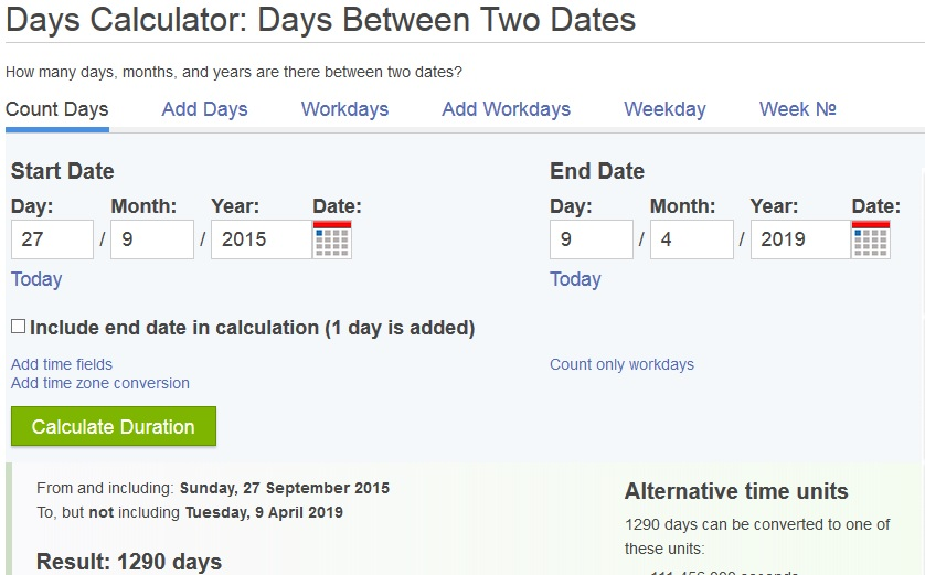 snapshot from date calculator at timeanddate.com that shows number of days from September 27th 2015 to April 9th 2019