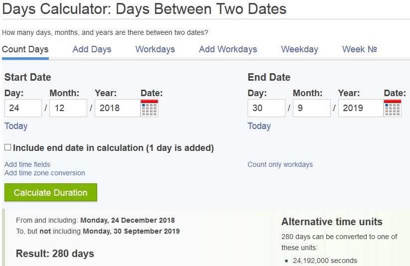 snapshot from date calculator at timeanddate.com that shows number of days from December 24th 2018 to September 30th 2019