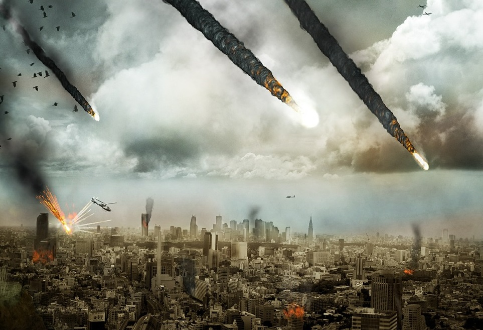 image showing fireballs from the sky falling towards a city